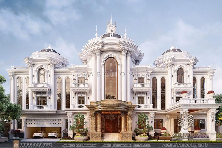 Mẫu biệt thự 3 tầng tân cổ điển lộng lẫy 2021